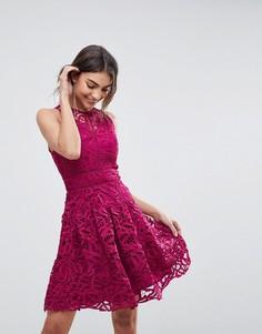 Кружевное приталенное платье со свободной юбкой Adelyn Rae Dylan - Розовый