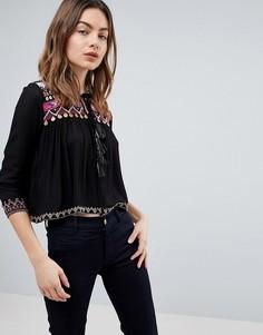 Блузка с вышивкой и завязками Raga Dora - Черный