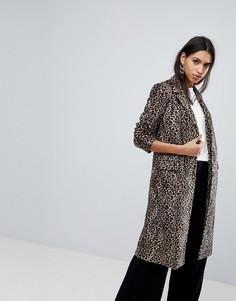 Пальто с принтом Helene Berman - Коричневый