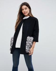 Пальто в стиле кимоно с карманами из искусственного меха Helene Berman - Серый
