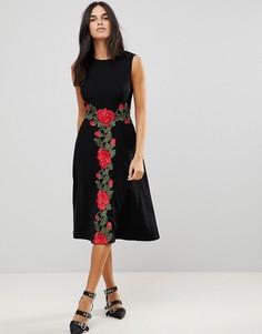 Платье миди с аппликацией в виде роз Traffic People - Черный