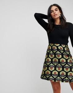 Платье 2-в-1 с жаккардовой юбкой Traffic People - Мульти