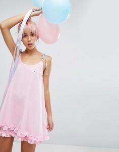 Платье с завязками и вышитыми сердечками Lazy Oaf - Розовый