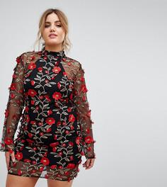 Платье с высоким воротом и вышитыми красными розами Club L Plus - Мульти