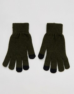 Перчатки цвета хаки для сенсорных гаджетов с добавлением овечьей шерсти ASOS - Зеленый