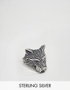 Серебряное кольцо с отделкой в форме волка ASOS - Серебряный