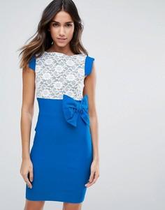 Платье миди с кружевом и бантом Vesper - Синий