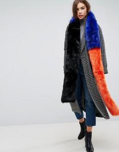 Длинный шарф из искусственного меха в стиле колор блок Urbancode - Мульти