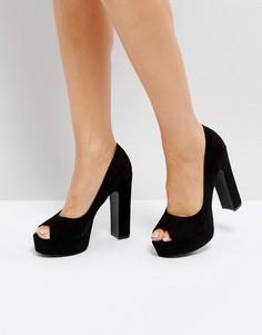 Туфли на платформе с открытым носом Truffle Collection - Черный
