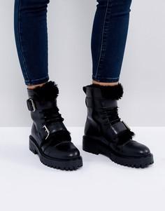 Кожаные походные ботинки на меховой подкладке Depp - Черный