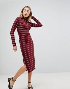 Платье миди в полоску с отворачивающимся воротником Walter Baker Carmella - Красный