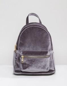 Бархатный мини-рюкзак Qupid - Серый