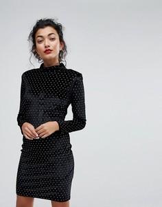 Бархатное платье с высоким воротом и отделкой Club L - Черный