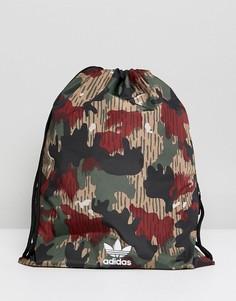 Камуфляжная сумка с затягивающимся шнурком adidas Originals X Pharrell Williams Hu - Мульти