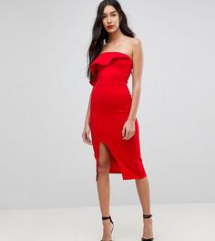 Структурированное платье-бандо с оборкой и разрезом True Violet Tall - Красный