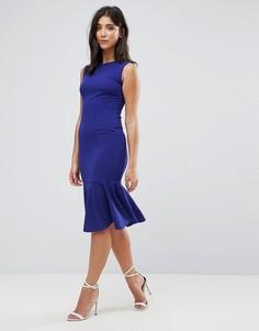 Платье миди с оборкой на подоле Ax Paris - Синий