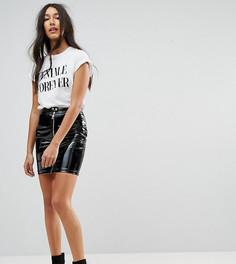Блестящая мини-юбка с отделкой в байкерском стиле NaaNaa Tall - Черный