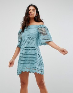 Кружевное свободное платье с широким вырезом Girl In Mind - Синий
