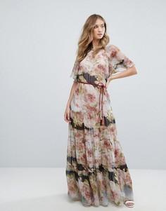 Шифоновое платье макси с короткими рукавами и цветочным принтом Traffic People - Мульти