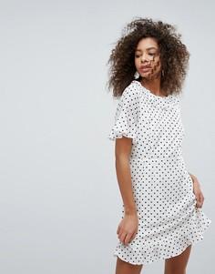 Платье в горошек с рюшами Traffic People - Белый