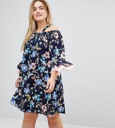 Платье со спущенными плечами и цветочным принтом Lovedrobe - Мульти