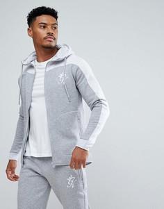 Серый обтягивающий меланжевый худи с контрастной вставкой Gym King - Серый