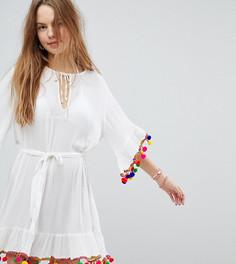 Пляжное платье с помпонами Akasa - Кремовый