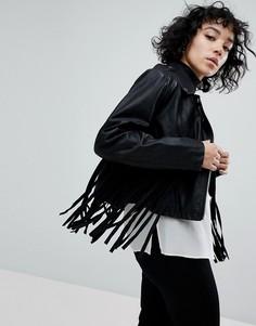 Байкерская куртка из искусственной кожи с бахромой ASOS - Черный