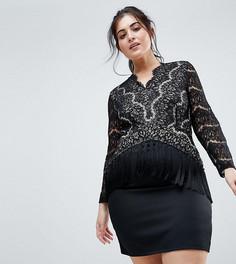 Платье с кружевным топом и кисточками Club L Plus - Черный