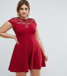 Короткое приталенное платье с кружевной вставкой Club L Plus - Красный
