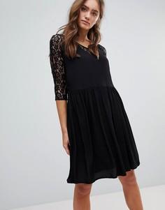 Платье миди с отделкой кружевом Pepe Jeans - Черный