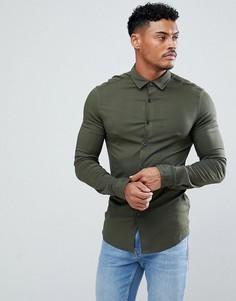 Рубашка зауженного кроя из вискозы цвета хаки ASOS - Зеленый