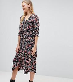 Платье миди с рукавами три четверти и цветочным принтом Influence Tall - Мульти
