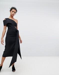 Платье-футляр миди на одно плечо с драпировкой AQ/AQ - Черный