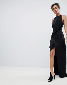 Платье макси с запахом и асимметричным разрезом AQ/AQ - Черный
