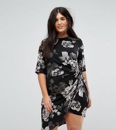 Асимметричное платье миди с цветочным принтом Yumi Plus - Черный