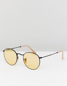 Круглые солнцезащитные очки с желтыми стеклами Ray-Ban 0RB3447 - 50 мм - Черный