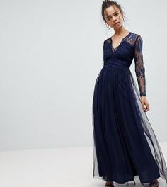 Кружевное платье макси с длинными рукавами ASOS PETITE - Темно-синий