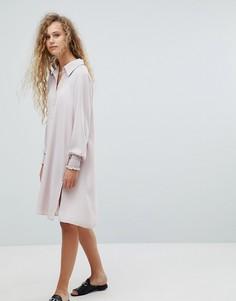 Платье-рубашка с длинными рукавами Love - Розовый