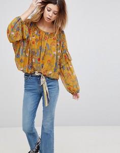 Блузка с цветочным принтом Free People - Желтый
