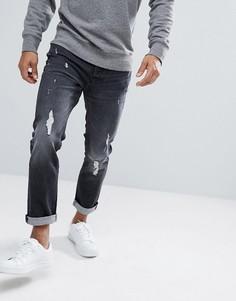 Выбеленные узкие джинсы с потертой отделкой Jack & Jones Intelligence - Черный