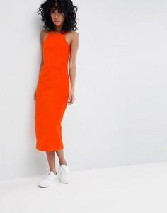 Оранжевое вельветовое платье миди ASOS - Красный