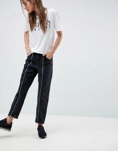 Выбеленные черные джинсы бойфренда с молнией ASOS - Черный