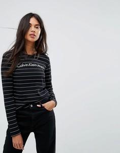 Лонгслив с логотипом и полосками Calvin Klein Jeans - Черный