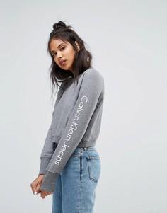 Укороченный спортивный топ с логотипом Calvin Klein Jeans - Серый
