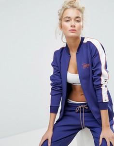 Спортивная куртка на молнии с полосой Tommy Jeans - Темно-синий
