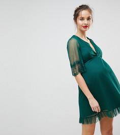 Короткое приталенное платье с кружевом ASOS MATERNITY - Зеленый