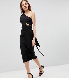 Платье-футляр миди на одно плечо AQ/AQ Tall - Черный