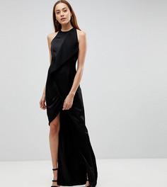 Платье макси с запахом и асимметричным разрезом AQ/AQ Tall - Черный