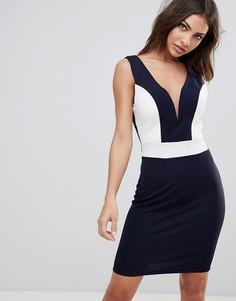 Платье миди с глубоким вырезом сердечком и контрастными вставками Wal G - Темно-синий